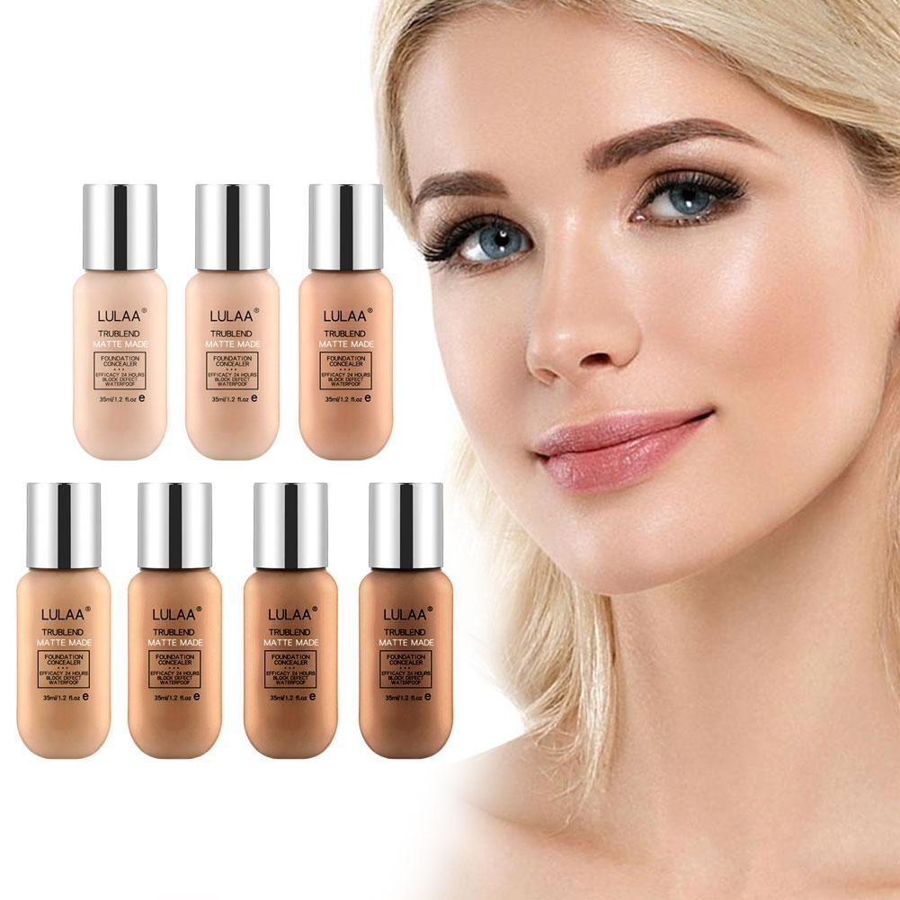 Soft Matte Long Wear Oil Control Concealer Liquid Foundation Cream Fashion Womens Makeup New 7 Colors 35ml Foundation image