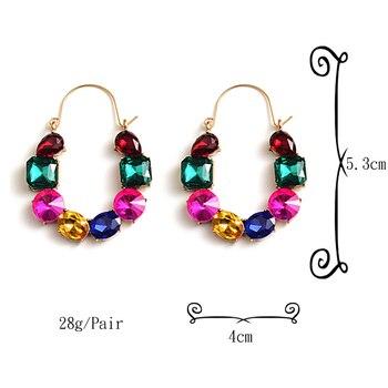 Colorful Rhinestones Crystals Circular Earrings  6