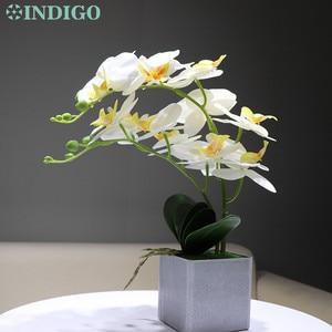 Image 4 - INDIGO  (1set) Orchidee Arrangment Echt Mit Vase Touch Bonsai Hochzeit Party Blume Dekoration Mittelpunkt Floristen Dropshipping