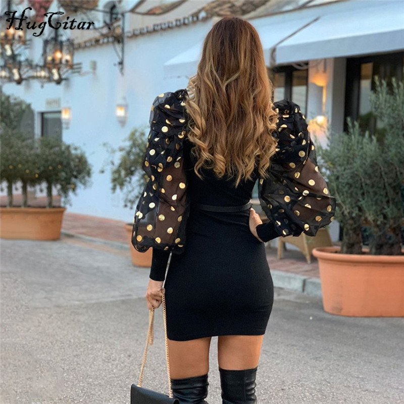 Hugcitar 2020 Long Puff Sleeve Mesh See-through Patchwork Polka Dots Sexy Mini Dress Spring Women Party Outfits Streetwear