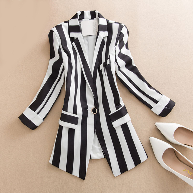 Small Suit Spring Summer Women Blazers Coat New Ladies Temperament Casual Striped Jacket