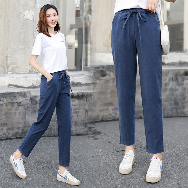 Women's Spring And Summer Pants Cotton Linen Solid Trousers Soft High-quality Women