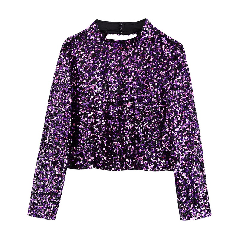 Stylish Women Tops Spring 2020 New Fashion Shiny Sequins Pullover