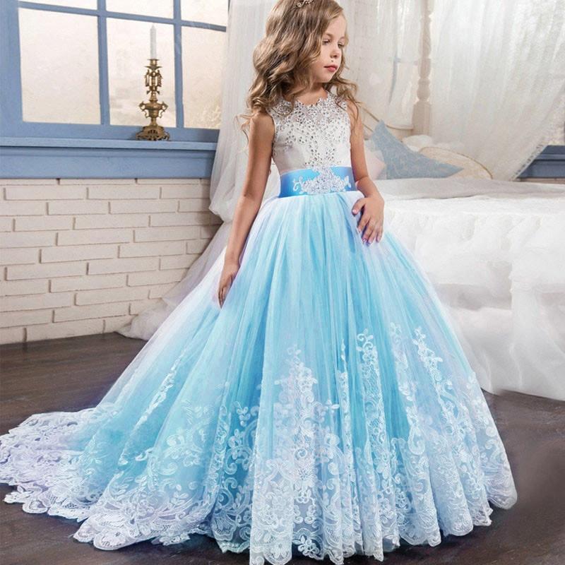 2021 Girls Christmas Dress White Bridesmaid Kids Clothes Girls Children Long Princess Dress Party Wedding Dress 14 10 12 Years 3