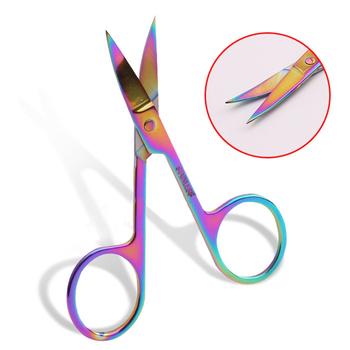 1pc kolorowe kameleon nożyczki do brwi s zakrzywione głowy brwi nożyczki do Manicure Cutter paznokci przybory do makijażu nożyczki do brwi tanie i dobre opinie