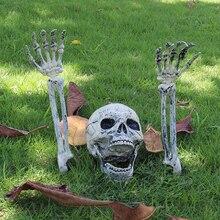 3pcs/Set Halloween Plastic Human Bones Skull Skeleton Skulls Arm Horror Buried For Home Garden Yard Lawn Decoration