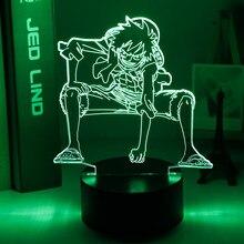 Luz Nocturna 3d con forma de mono, figura de Luffy, luz nocturna alimentada por Usb para niños, decoración dormitorio infantil, luz Led nocturna, regalo de una pieza