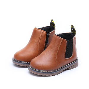 Children Kids Fashion Boots Spring Teen Girls Chelsea Boot With Zip Big Boys Snow Boots PU Leather Sneakers botas niña(China)