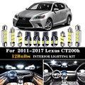 12 шт. Ксеноновые белые светодиодные лампы премиум-класса Canbus, внутренняя упаковка для 2011-2017 Lexus CT200h, комплект светодиодных ламп для салона + и...