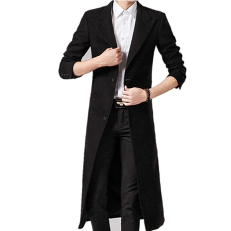 Men Wool Blends Coats Autumn Winter New Solid Color High Quality Men's Long Wool Coats Black Luxurious Wool Blends Coat Male