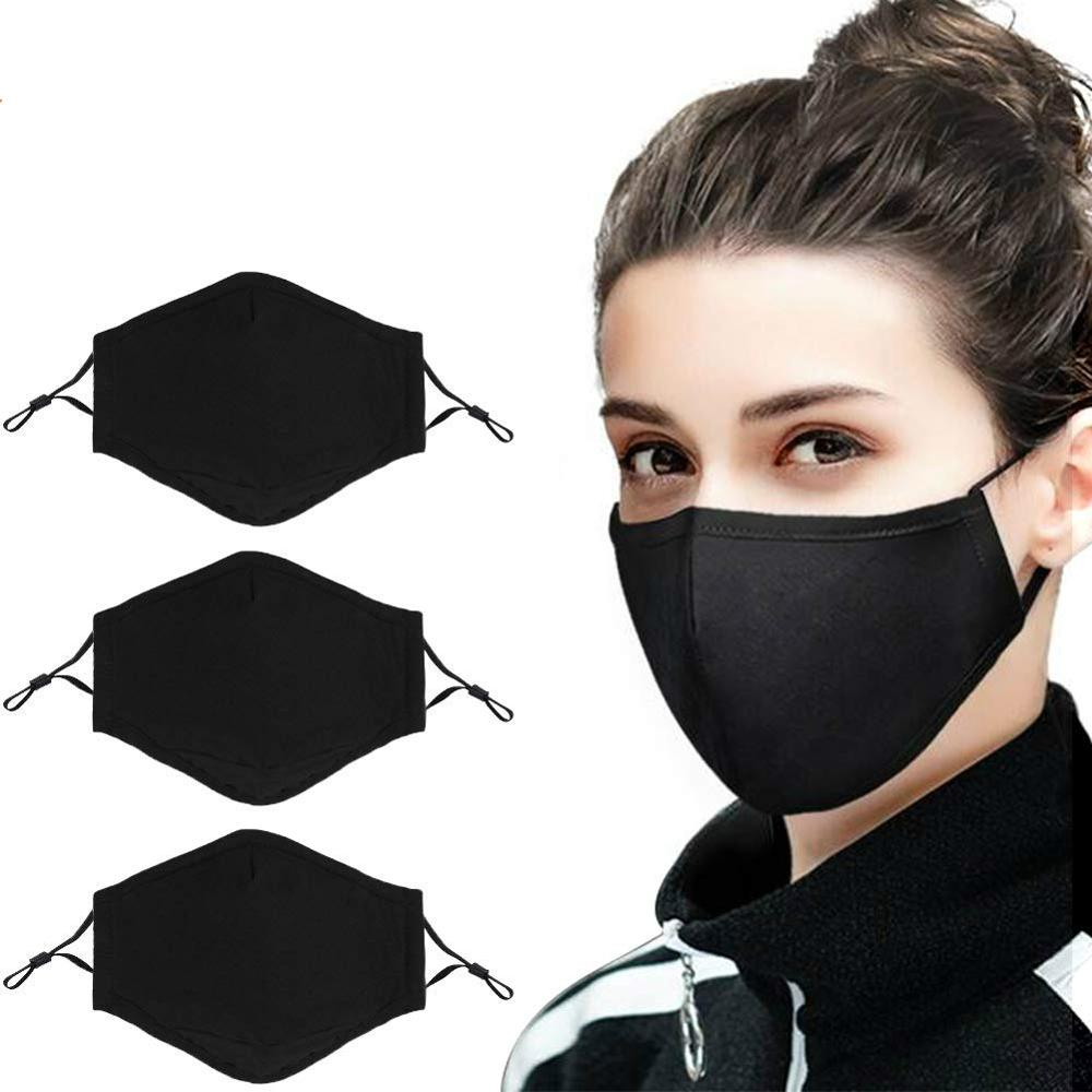 Cotton Mouth Mask Women  Anti Dust Pollution Mask Washable Fashion PM2.5 Face Mask Reusable With Adjustable Straps-Black