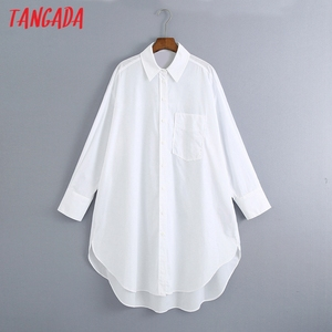 Tangada women oversized white long shirts long sleeve solid female loose casual blouse tops 6Z80
