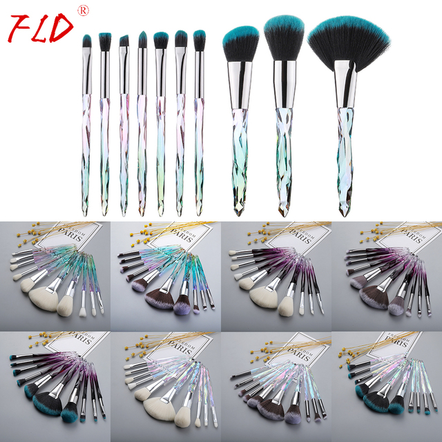 FLD Professional 10Pcs Makeup Brush Set Crystal Face Powder Blush Brushes Set Eyeliner Eyebrow Make Up Tools Kits 3