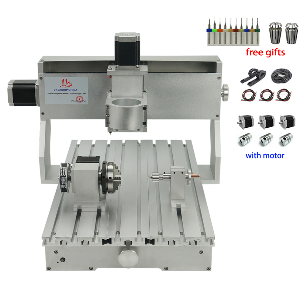 3040 cnc router frame 3 4 aixs Aluminium Engraving Machine Frame Kit With Nema23 Stepper Motors CNC Wood Lathe 300x400mm
