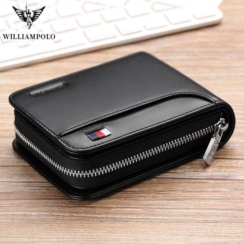 2019 High Quality Short Zipper Black Men Wallets Brand Genuine Leather Wallets Card Holder Mens Purse 13 Card Holders PL175112
