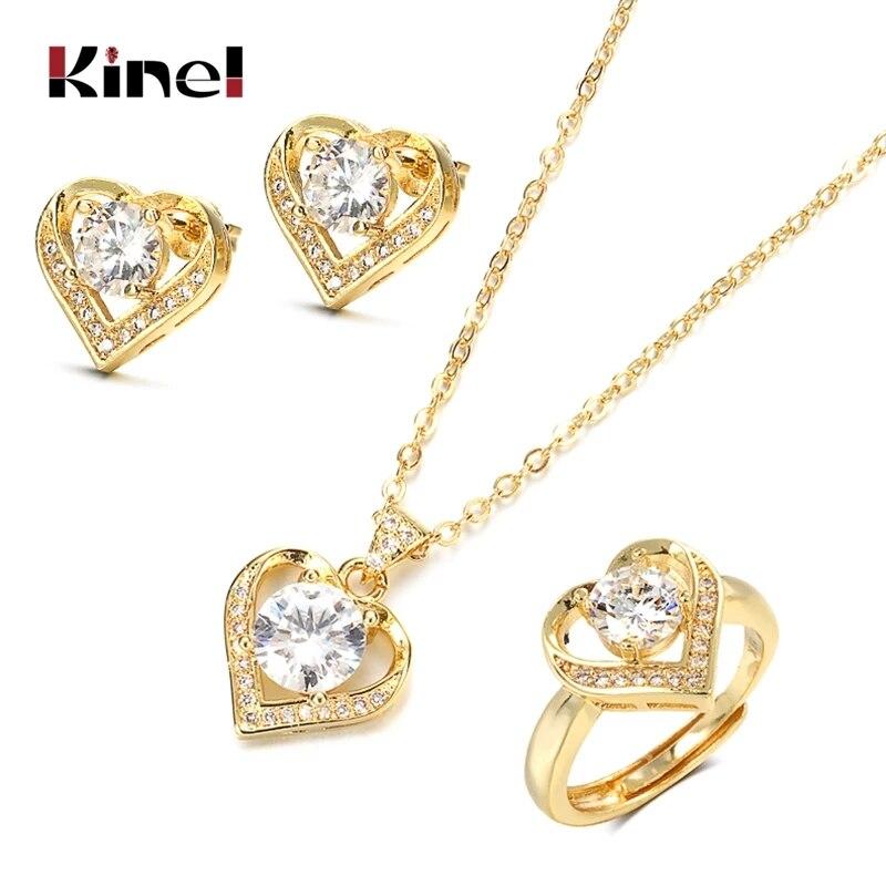 Kinel 18K Gold Zirkon Schmuck Set Versprechen Ring Stud Ohrring Halskette Sterling Silber Weihnachten Valentinstag Geschenk für frauen