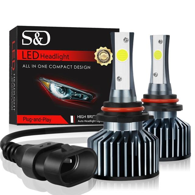 2 uds. Bombillas de faro delantero de coche LED, lámpara de luz automática, H1 H3 H27 H7 H11 HB3 HB5 880 9005/HB3 9006/HB4 HB1 12V 72W 6000K 12000LM