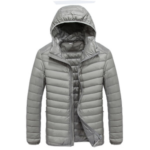 Image 4 - 2019 Autumn Mens Ultralight White Duck Down Hooded Jacket Male Windproof Waterproof Parkas Coats Ultra Light Stand Collar XCZ34