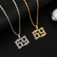 Moda kobiety mężczyźni 69 numer naszyjnik Hip Hop biżuteria Punk Style złoty kolor srebrny Rope Chain komunikat naszyjnik prezenty