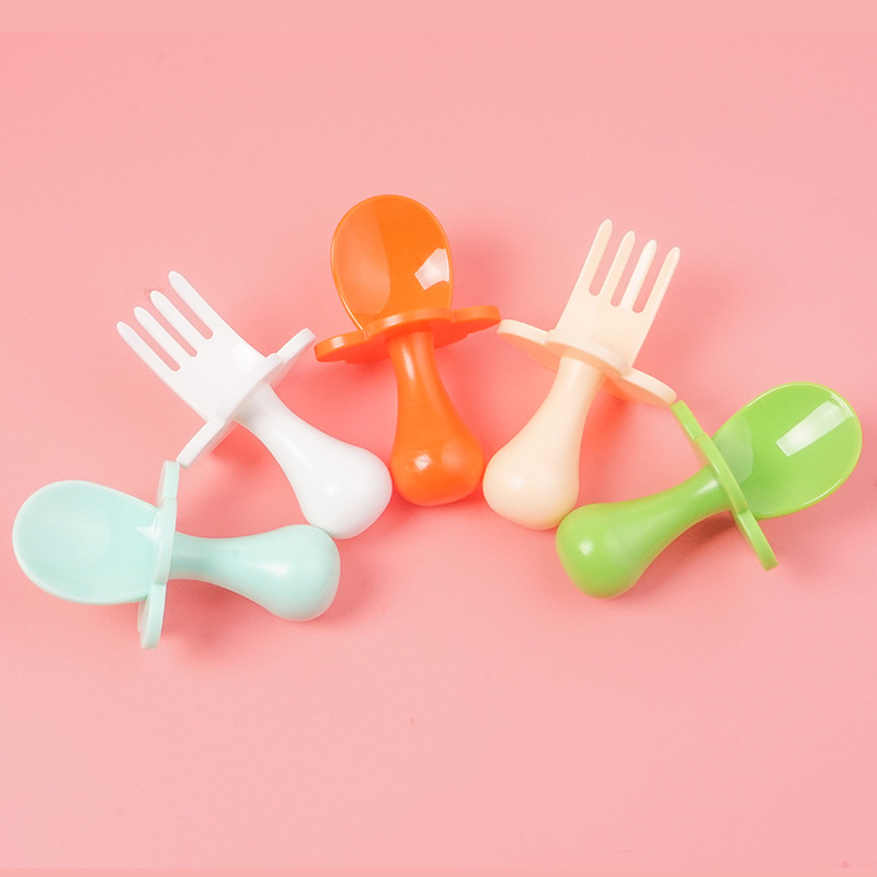 Baby Feeding Fork Spoon Set PP Safety Infant Cloud Shape Dinnerware Set With Dust Box Kids 5 Colors Easy Grip Training Flatware