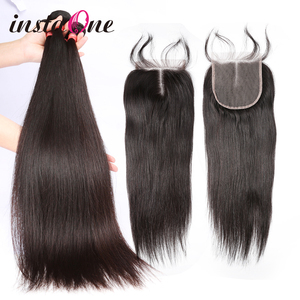 28 30 40 Inch Peruvian Hair Weave Bundles Straight 3 4 Bundles With 4x4 5x5 Lace Closure Remy Hair 6x6 Closure 100% Human Hair L