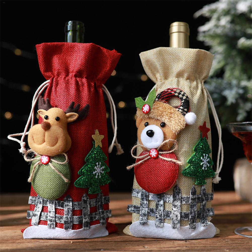 1pc Christmas Red Wine Bottle Covers Bag Linen Holiday Santa Claus Champagne Bottle Cover Christmas Decorations For Home