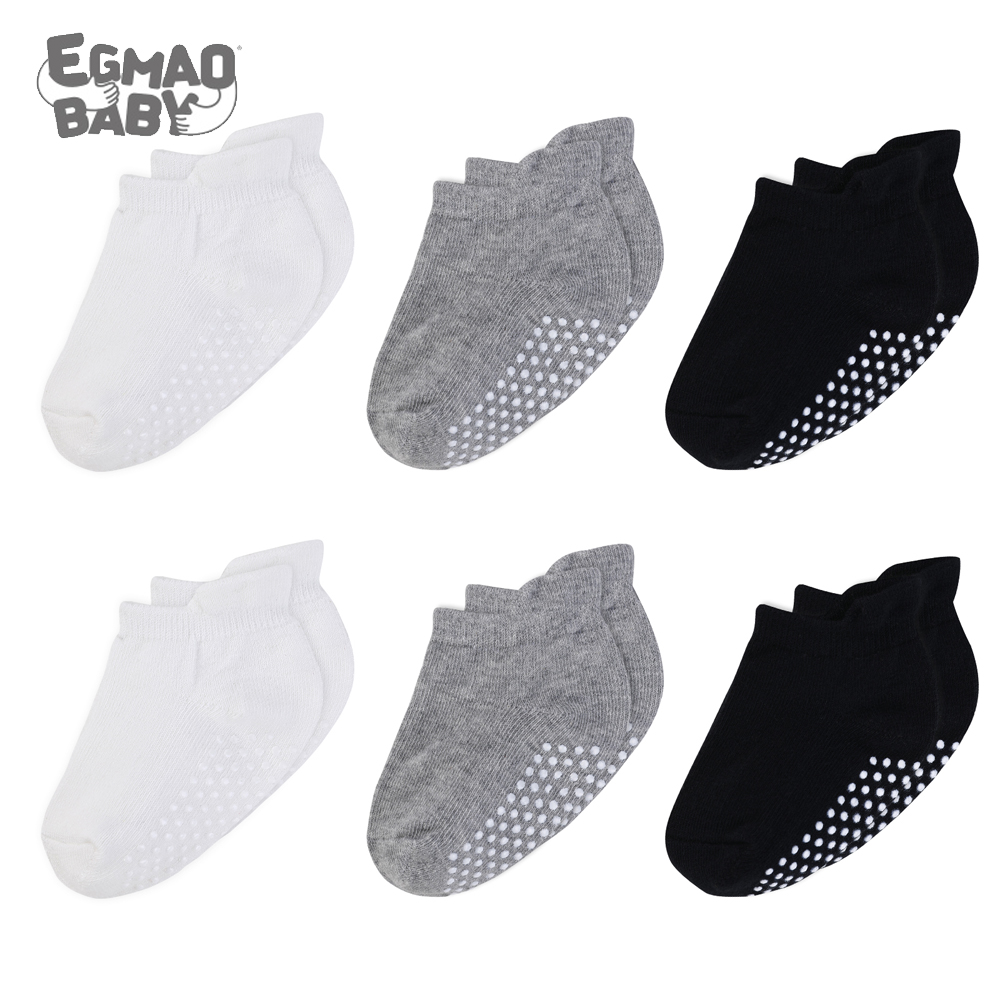 6Pairs/Lot Baby Socks 100% Organic Cotton Baby Ankle Socks with Non Skid Soles Unisex Anti Skid Baby Sock for Girls & Boys