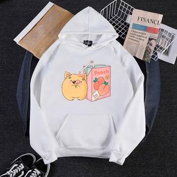 Korean Couple Hoody Hoodies Lovers Harajuku Cute Peach Juice Cartoon Hoodies Women Harajuku Streetwear Oversize Sweatshirts Tops cute cartoon style couple lovers keychain silver pair
