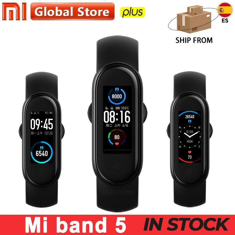 Nouveau Xiaomi Mi Band 5 Bracelet de Fitness Charge magnétique 24h fréquence cardiaque sommeil REM sieste étape natation Sport moniteur rappeler alarme Miband 5