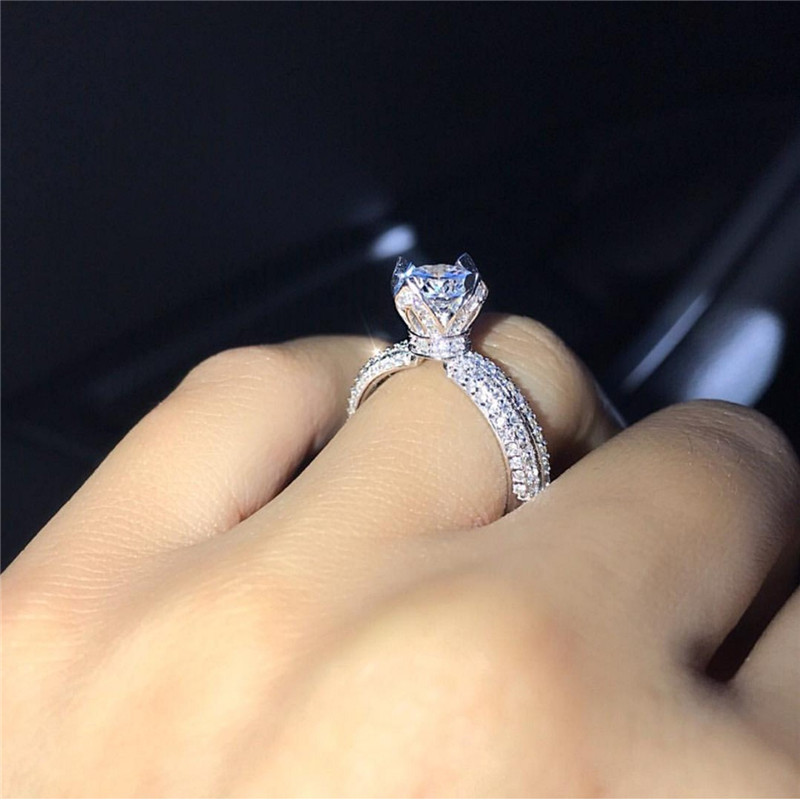 Handmade Crown Promise Ring 925 Sterling Silver AAAAA Cz Stone Party Wedding Band Rings For Women Bridal Engagement Jewelry