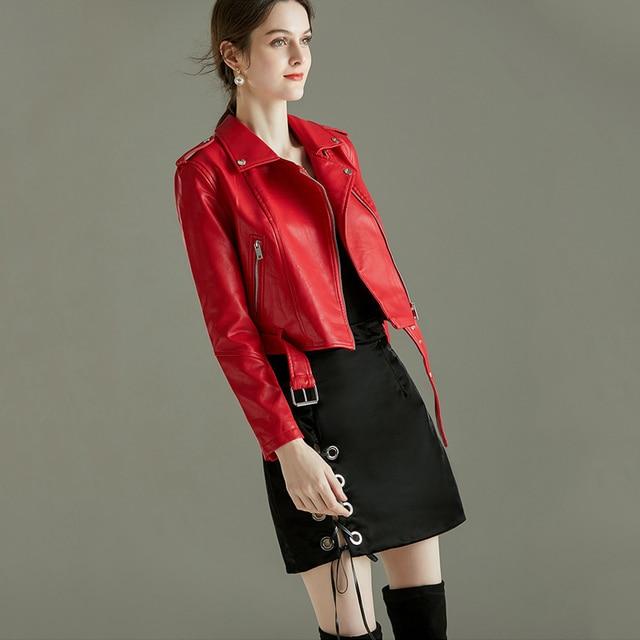 FTLZZ Women Faux Soft Leather Short Jacket Rivet Epaulet Zipper Pu Motorcycle Basic Jackets Female Red Black Outerwear With Belt 4