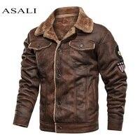 Мужские старомодные замшевые кожаные куртки, винтажные военные куртки, зимнее пальто, Теплые повседневные Кожаные Куртки из искусственной ...