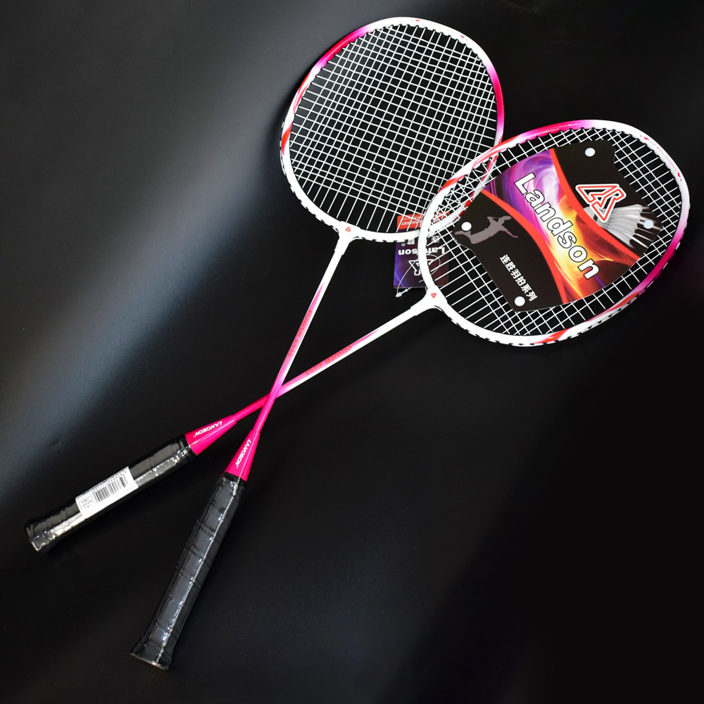 Landson A Pair Of Aluminum Alloy Professional Badminton Rackets Durable Wear-resistant Handle Shock-absorbing Badminton Rackets