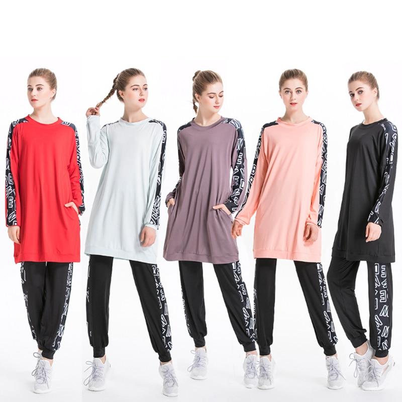 TaoBo 2020 New Women Plus Size Sportwear Floral Muslimah Islamic Swimsuit Sport Clothing Modest Muslim Swimwear Hijab