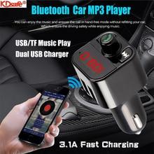 Kdsafe Bluetooth 5.0Handsfree Car Kit 3.1A Quick Dual Usb Charger Fm-zender Lcd Digitale Voltmeter Tf Card U Disk aux Speler