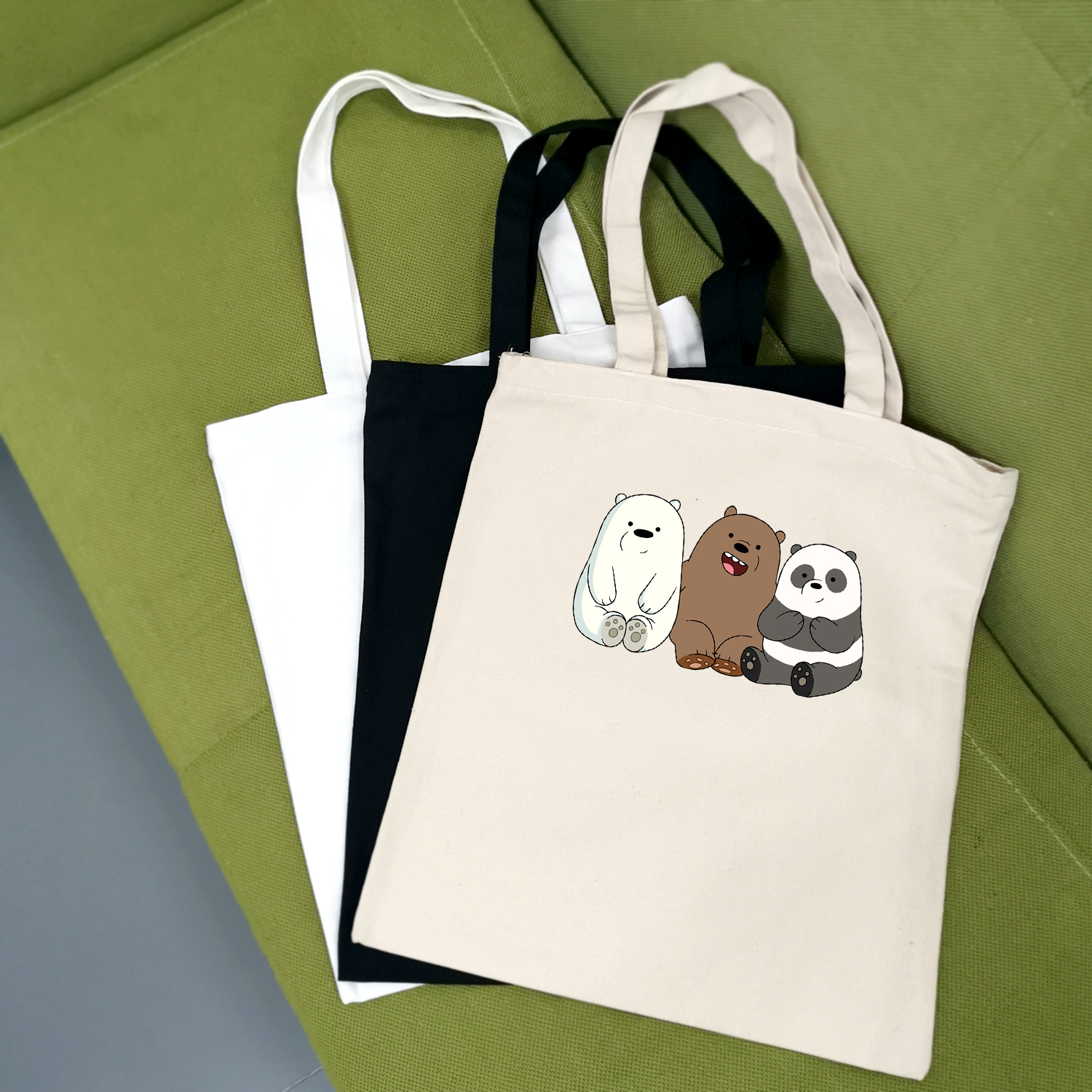 Anime Bears Printed Cute Cartoon Large Capacity Canvas Tote Bag Fabric Cotton Cloth Reusable Shopping Bag Women Beach Handbags