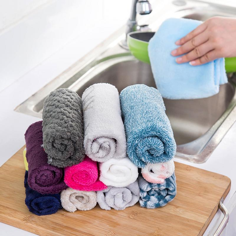 1PC Strong Absorbent Soft Scouring Pad Kitchen Cleaning Dish Towel Microfiber Household Cleaning Cloths Kitchen Gadgets Hot Sale(China)