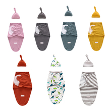 Baby Swaddle Blanket + Cap Newborn Cocoon Wrap Cotton Swaddling Bag Baby Envelop
