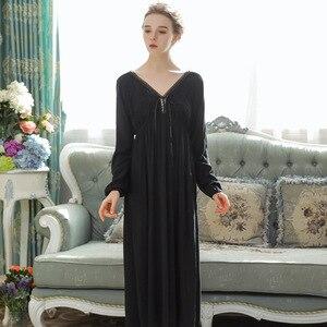 Image 4 - סקסי כתנות הלילה ארוך כותנה תחרה הלבשת נשים מתוק נסיכת סגנון ארמון Nightwear Loose כתונת לילה בתוספת גודל פיג מה Homewear
