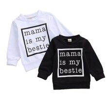 Boy Girls Autumn Sweatshirts Long Sleeve O neck Tops Winter Warm Outfits Mama is My Bestie Letter Print 0-24M