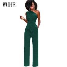 WUHE Women Arrival Clubwear One Shoulder High Waist Party Jumpsuits Rompers Summer Sleeveless Belt Wide Leg Casual
