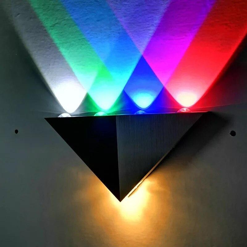 Modern LED wall light 5W aluminum body triangle wall light bedroom home lighting fixture bathroom fixture colorful wall light|Wall Lamps| |  - title=