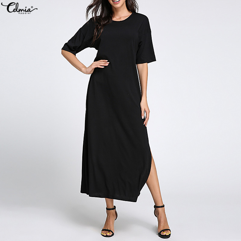 Летнее платье 2020 женское повседневное свободное платье с коротким рукавом однотонное длинное платье с круглым вырезом пляжное платье с изо...