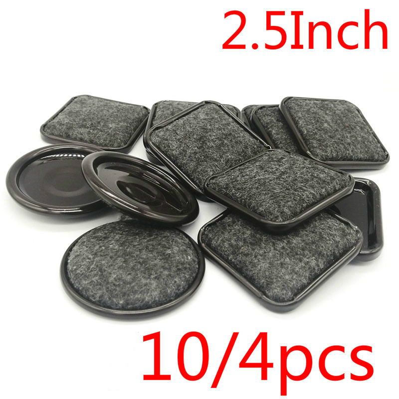 10/4pcs 2.5Inch Round-shape/Square Furniture Felt Caster Cups Covers Protector Rubber Table Chair Legs Feet Felt Cover Brown
