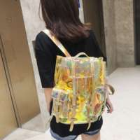 Luxury Transparent Backpack Laser Reflective Bright Color Changing PVC Waterproof Female Bag Backpack