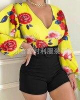 Camicia stampata da donna di nuovo stile 2021 con fibbia in metallo camicia pullover camicia pendolare temperamento giallo
