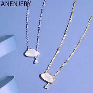 ANENJERY New Arrival Cloud Shell Charm Pendant Necklace for Women Anniversary Wedding Party Jewelry Gift S-N692