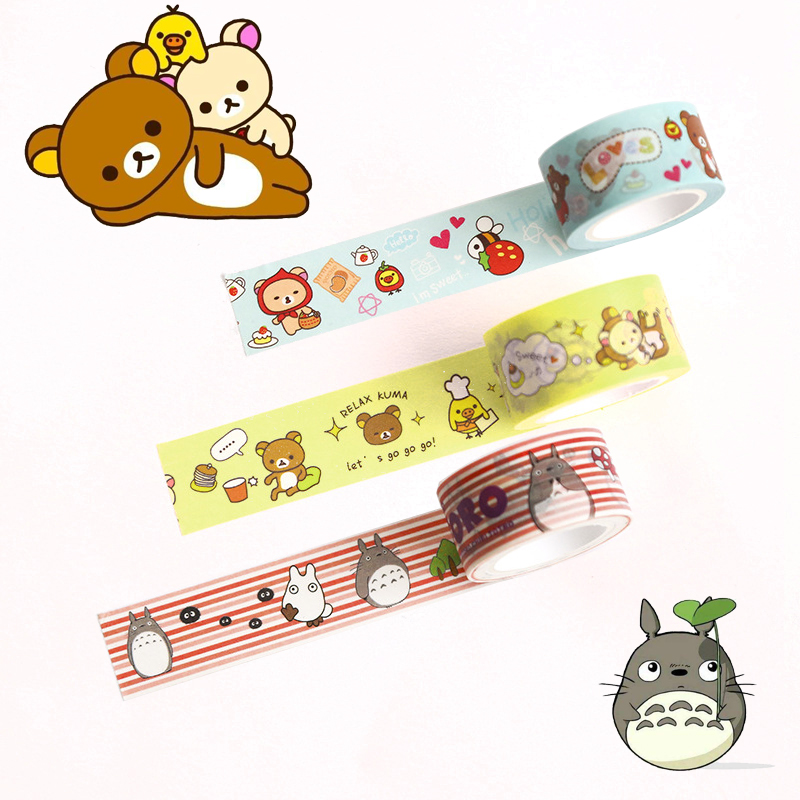 20mm Cute Washi Tape Japanese Totoro Rilakkuma Decorative Tape Flowers Sumikko Gurashi Scrapbooking Kawaii Grid Adhesive Tape