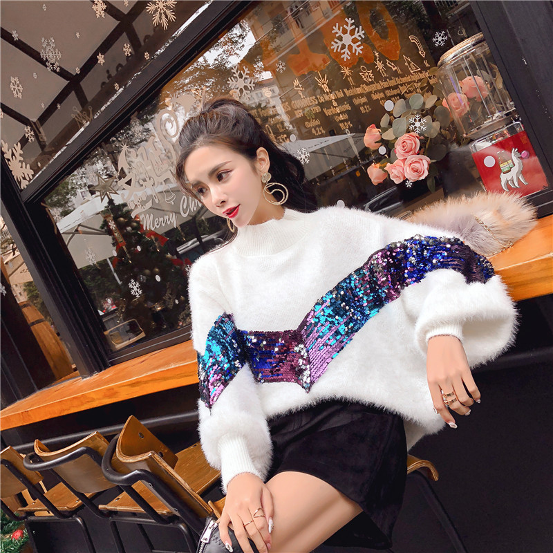Women Sequin Sweaters Bling Bling Mohair Knitted Pullover O-neck Autumn&Winter Casual Long Sleeved Knitwear Woman Jumper SW005