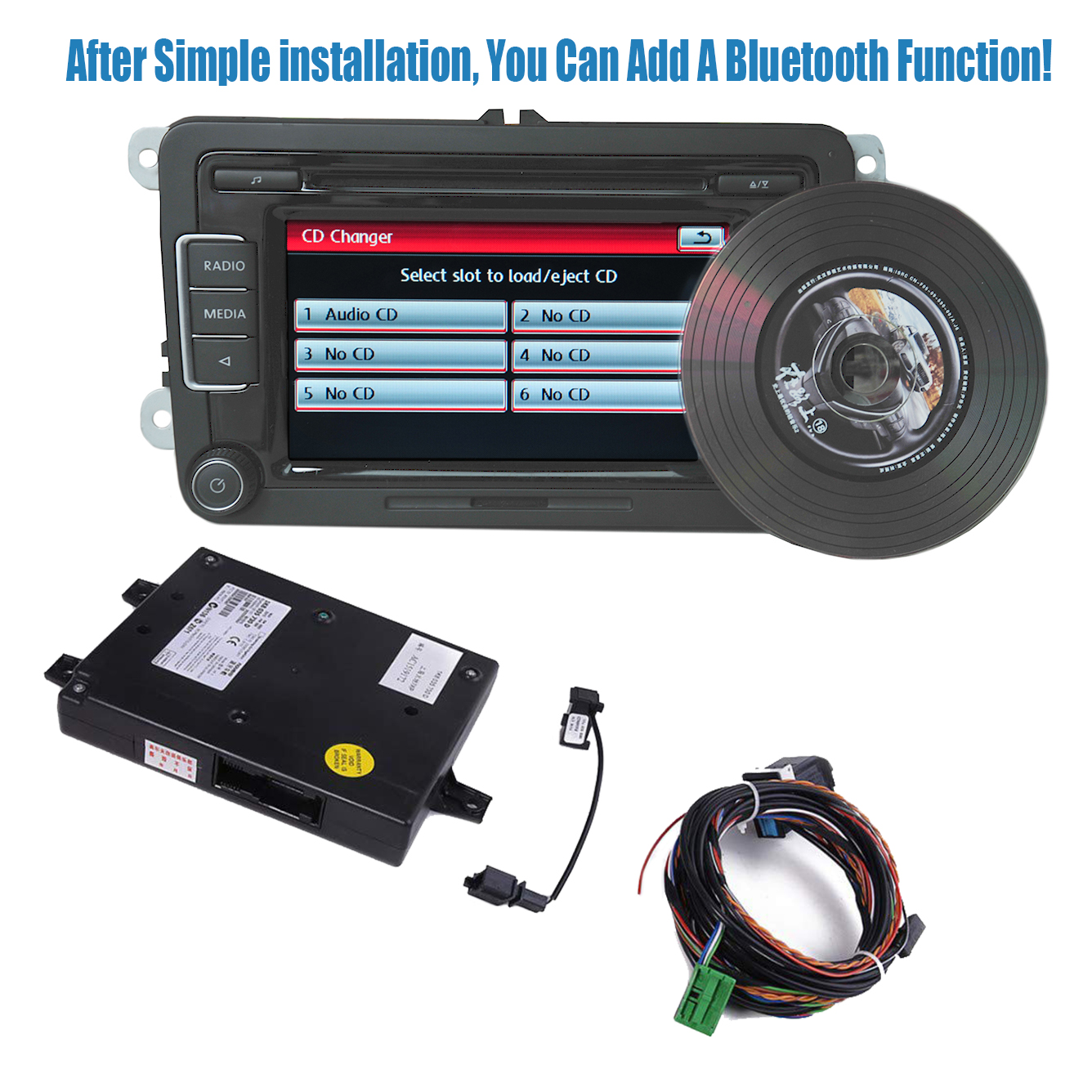 RCD510 Car Radio <font><b>USB</b></font> Ipod Bluetooth Module+Microphone+<font><b>Cable</b></font> line Car Kit For <font><b>VW</b></font> <font><b>Golf</b></font> Jetta Passat MK5 <font><b>6</b></font> 3AD035190A 56D035190 image